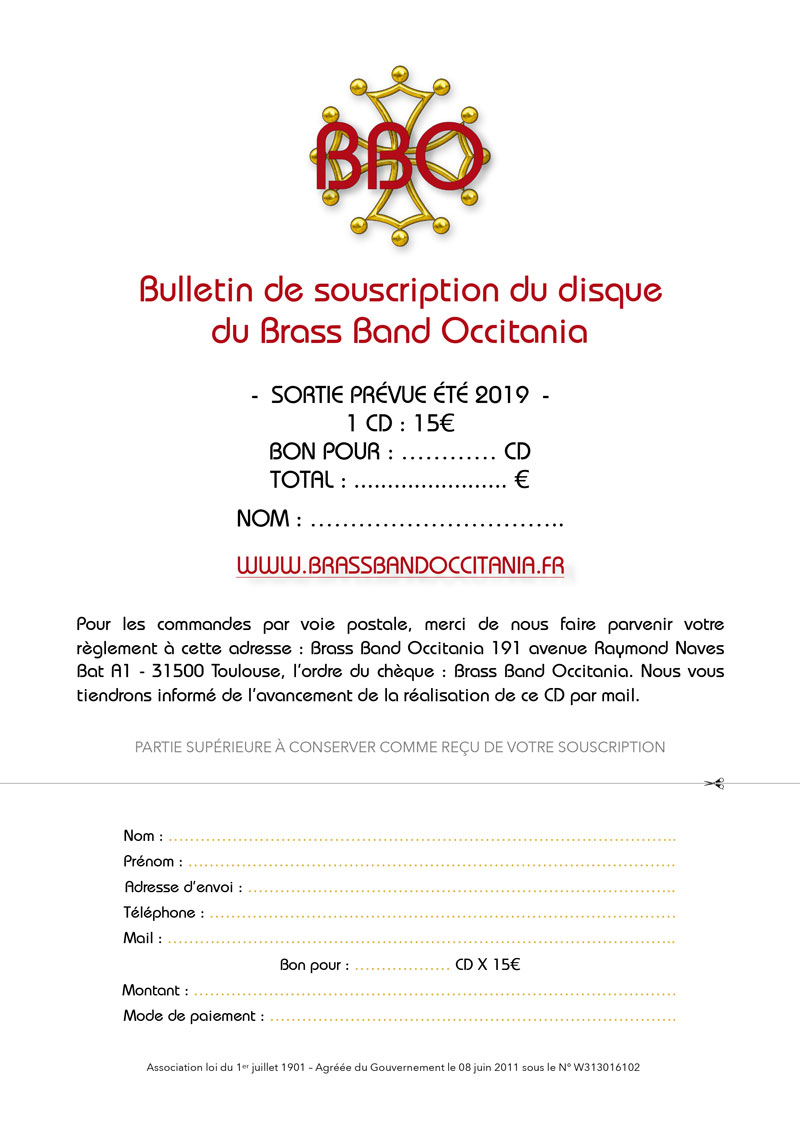 Bulletin de souscription du Cd du Brass Band Occitania